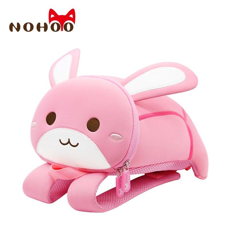 NOHOO Preschool Kids Animal Backpack Cute Rabbit Lunch Box Toddler Harness Leash Backpack 2-7 Years Old Medium
