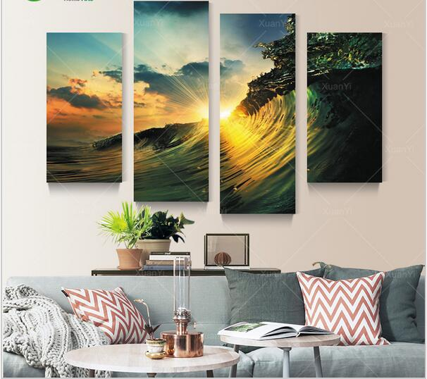 2017 promotion real canvas painting wall art 4 panel canvas art