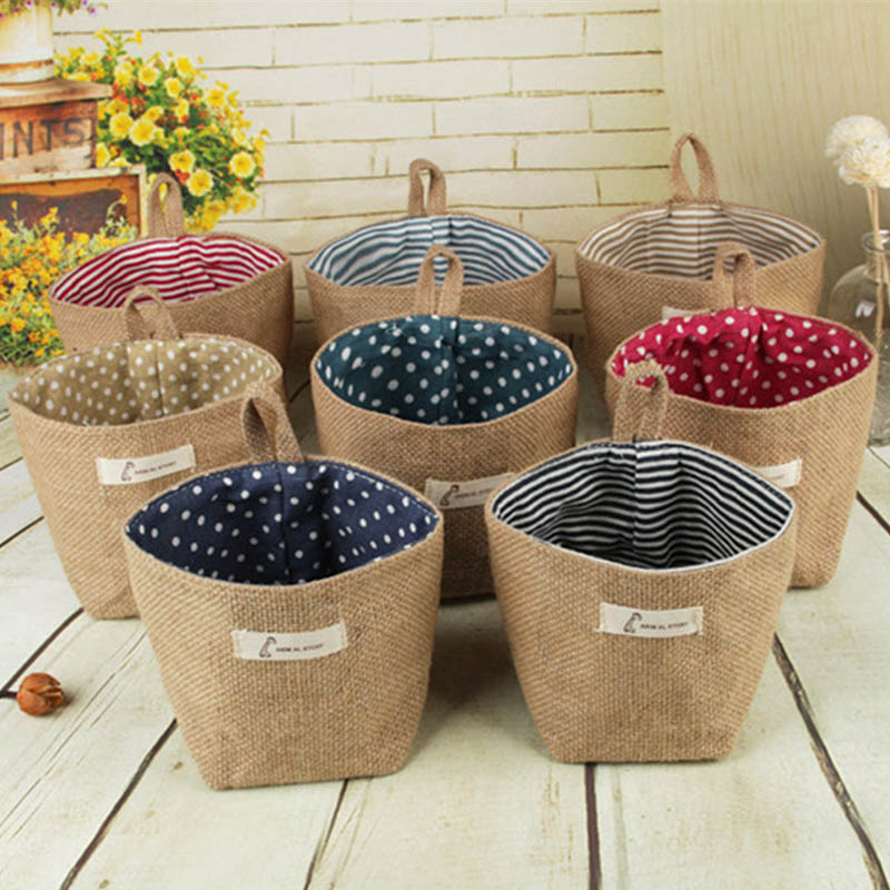 Small Storage Sack Stripe Dot Hanging Bag Sundries Storage Basket Jute Cloth Bag Flower Pot Cosmetic Bag Home Decor 14*12.5cm