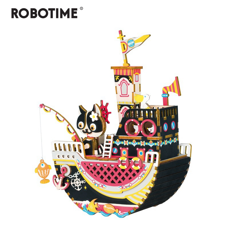 Robotime New Arrival Diy 3d Fishing Kitty Wooden Puzzle Game Assembly Moveable Music Box Toy Gift For Children Kids Adult Amd42