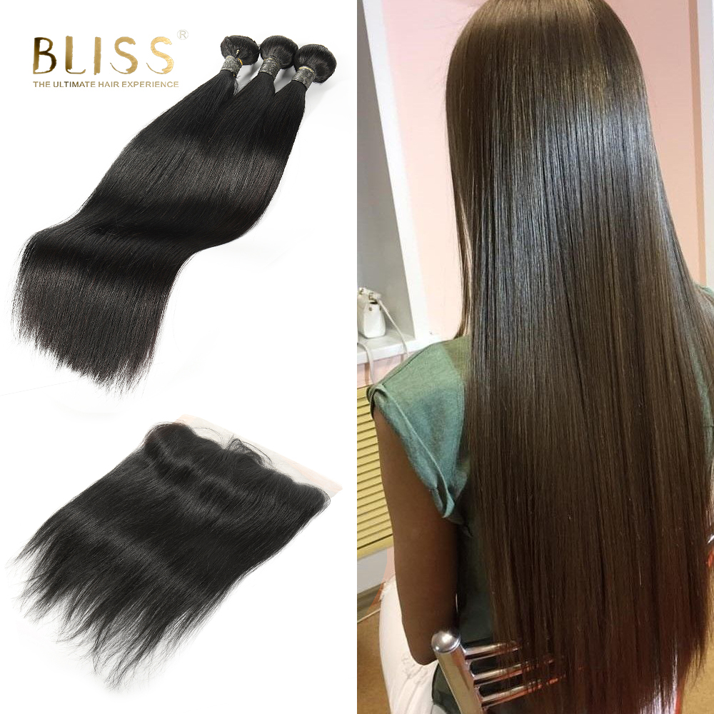 Bliss Malaysian Straight Hair 13x4 Lace Frontal Closure with Bundles Remy Human Hair Bundles with Lace Frontal Free Part 4 piece