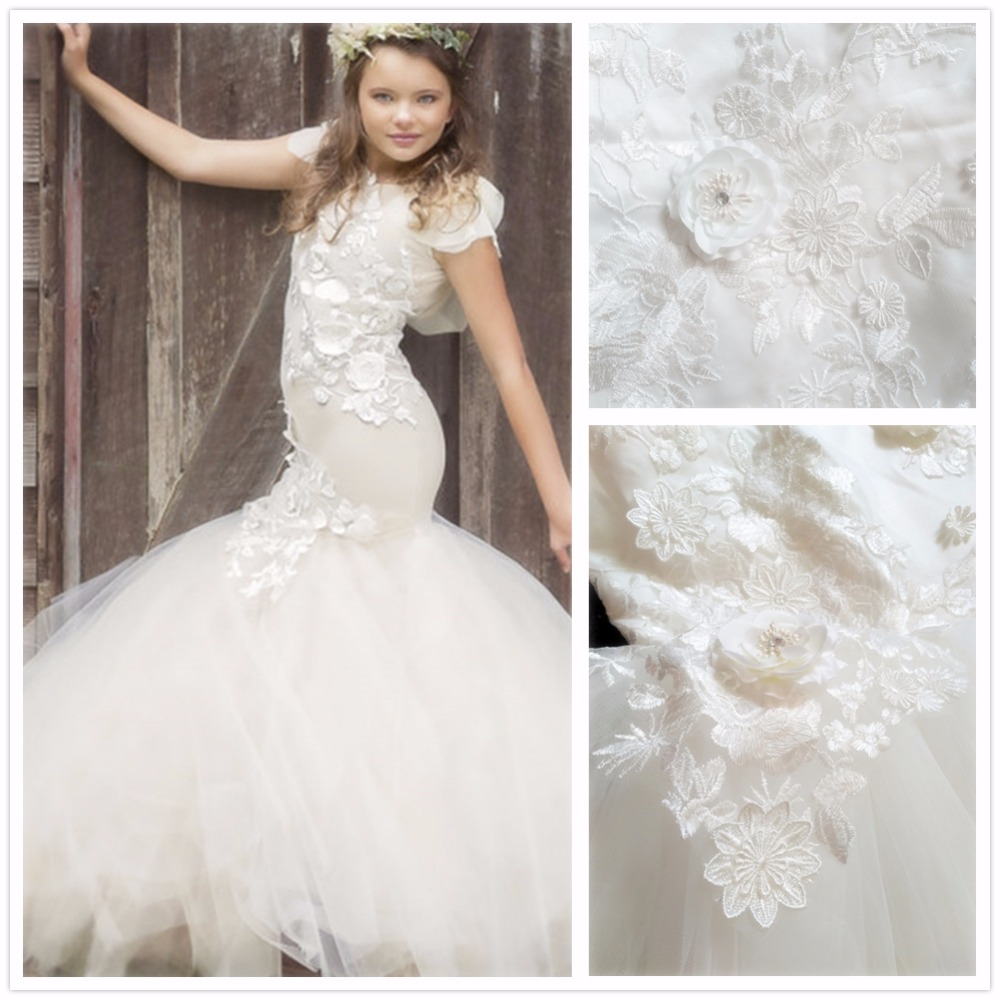 Ivory Mermaid Flower Lace Wedding Dress For Girls Formal Party Girl Floor Length Special Occasion Dresses For Juniors Customized вечернее платье mermaid dress vestido noiva 2015 w006 elie saab evening dress