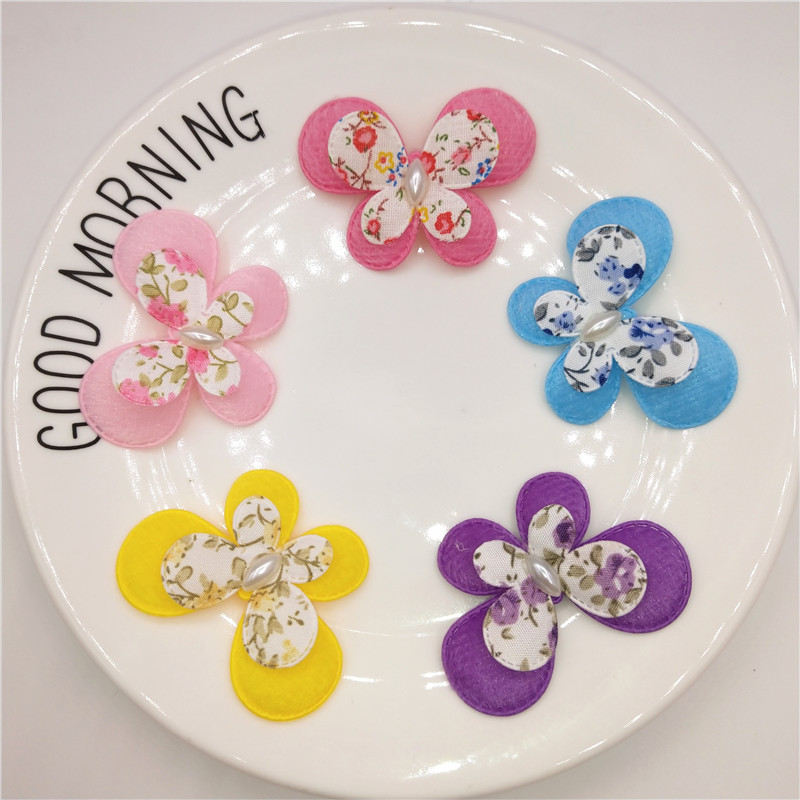 Wholesale 100pcs/lot Felt two layer Butterfly Shape Padded Appliques For Clothes Sewing Supplies DIY Craft Decoration