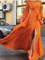 2016 nova Europa retro longa maxi vestido de manga longa outono vestidos caixilhos magro grande hem vestido de festa vestido de chiffon elegante do vintage vestido