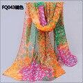 New2014brand весна лето женская зеленый большой европейский цветочные отпечатано 100% чистого шелка шифоновый шарф женский шелковый платок пашмины