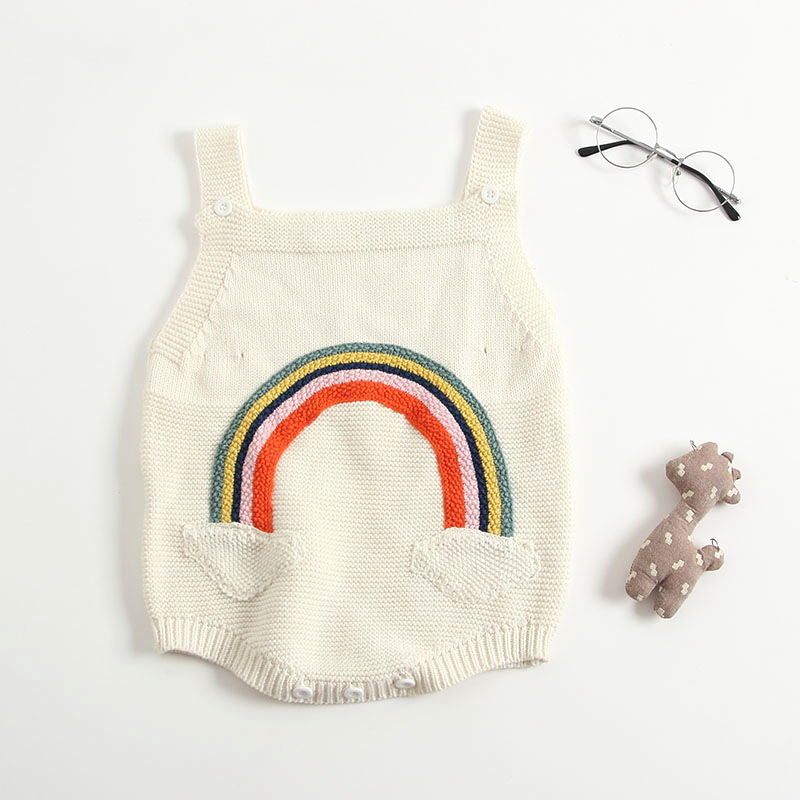 Baby Girls Rainbow Knitted Sweater Rompers Candy Beige Color Cute Toddler Infant Baby Fashion Autumn Clothing