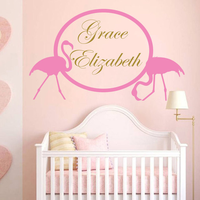 Art vinyl sticker flamingo pink bird custom personalized baby name wall decal nursery kids children room