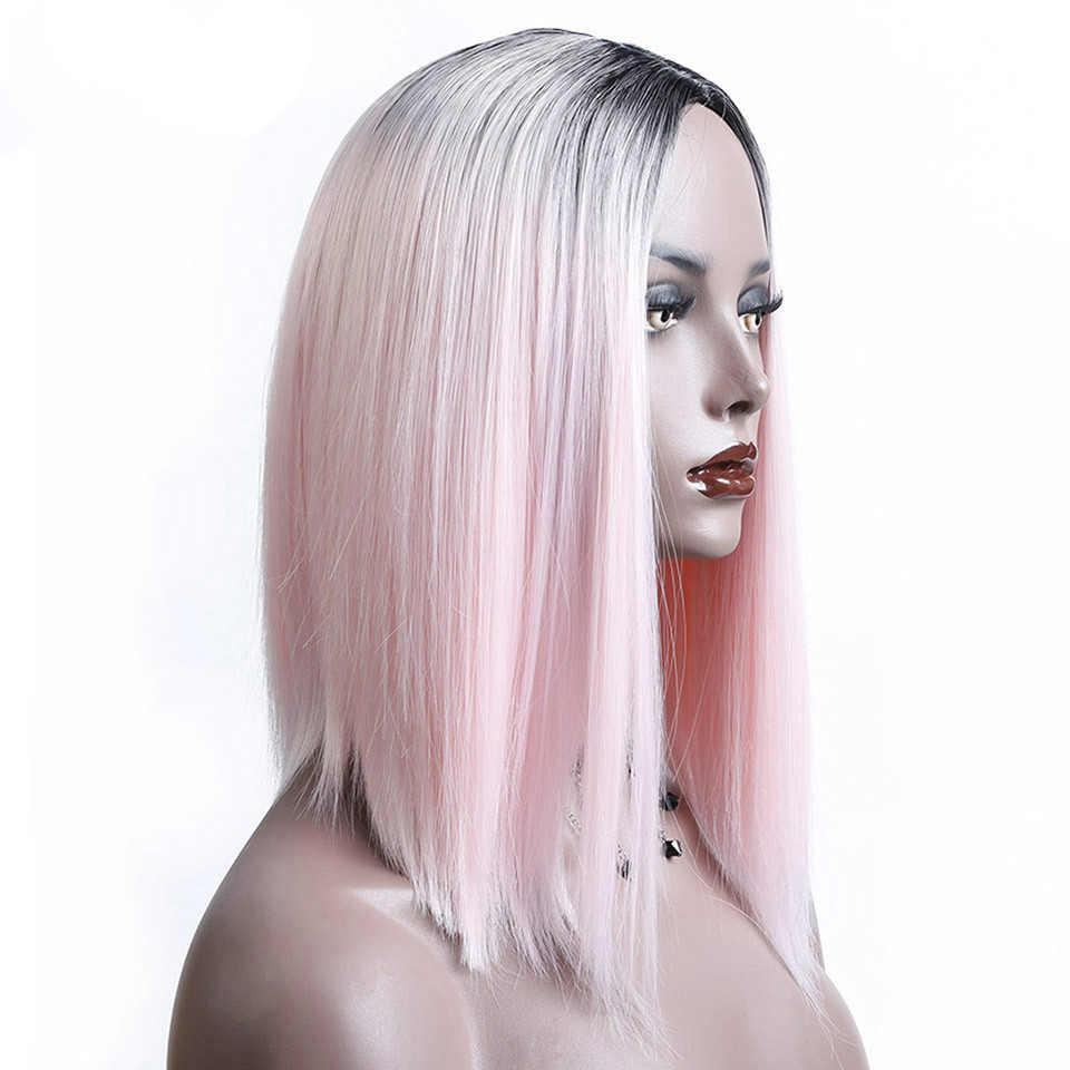 Buqi Мода человеческих волос парики боб парики для черный для взрослых женская обувь черного, розового цвета парик Косплэй парик Accessorics