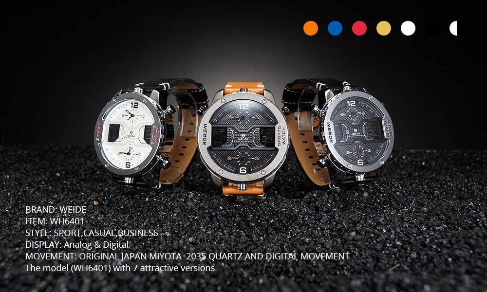 Topdudes.com - WEIDE Sports Relogio Masculino Leather Strap Digital Calendar & Date Quartz Wristwatch