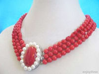 Women Gift word Love huij 3 Rows Red Coral Beads White Pearl White Clasp Pendant Necklace