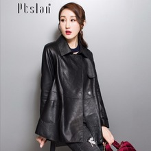 Ptslan 2017 women genuine lambskin coat full pelt coat real leather long sleeve coat