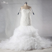 RSW1008 Heavy Pearls Mermaid Crystal Beaded Wedding Dresses Ruffles Skirt Bling Bridal Gowns Plus Size Wedding Dress