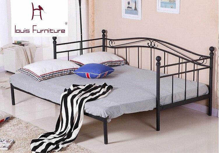 €63.13 |Lit de fer de style européen mobilier de chambre à coucher moderne  lit de princesse lit d\'étudiant canapé lit pour enfants peut être plié ...