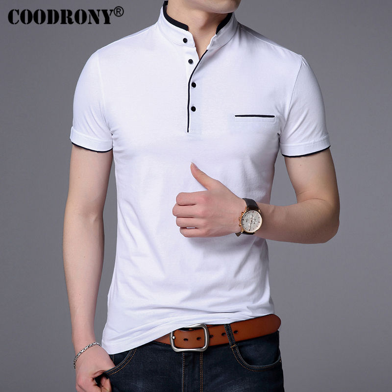 Coodrony Mandarin Collar Short Sleeve Tee Shirt Men 2017