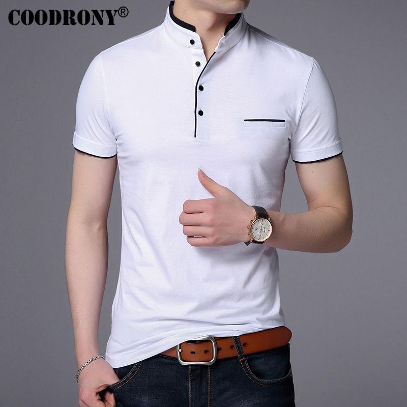 COODRONY Mandarin Collar Short Sleeve Tee Shirt Mens