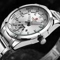 Moda Casual Marca Cinta de Aço Inoxidável Relógio Analógico Data de Exibição do Relógio de Quartzo dos homens Casuais Dos Homens Relógios relogio masculino