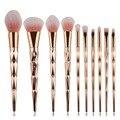Coshine 10 pçs/set rainbow unicorn ouro oval fundação creme em pó pincel de blush pincel de maquiagem profissional definida kits