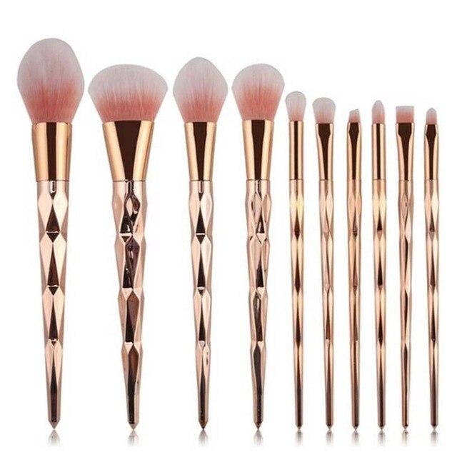 Coshine 10pcs/set Gold Rainbow Unicorn Oval Makeup Brush Set Professional Foundation Powder Cream Blush Brush Kits