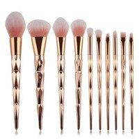 Coshine 10pcs Set Gold Rainbow Unicorn Oval Makeup Brush Set Professional Foundation Powder Cream Blush Brush