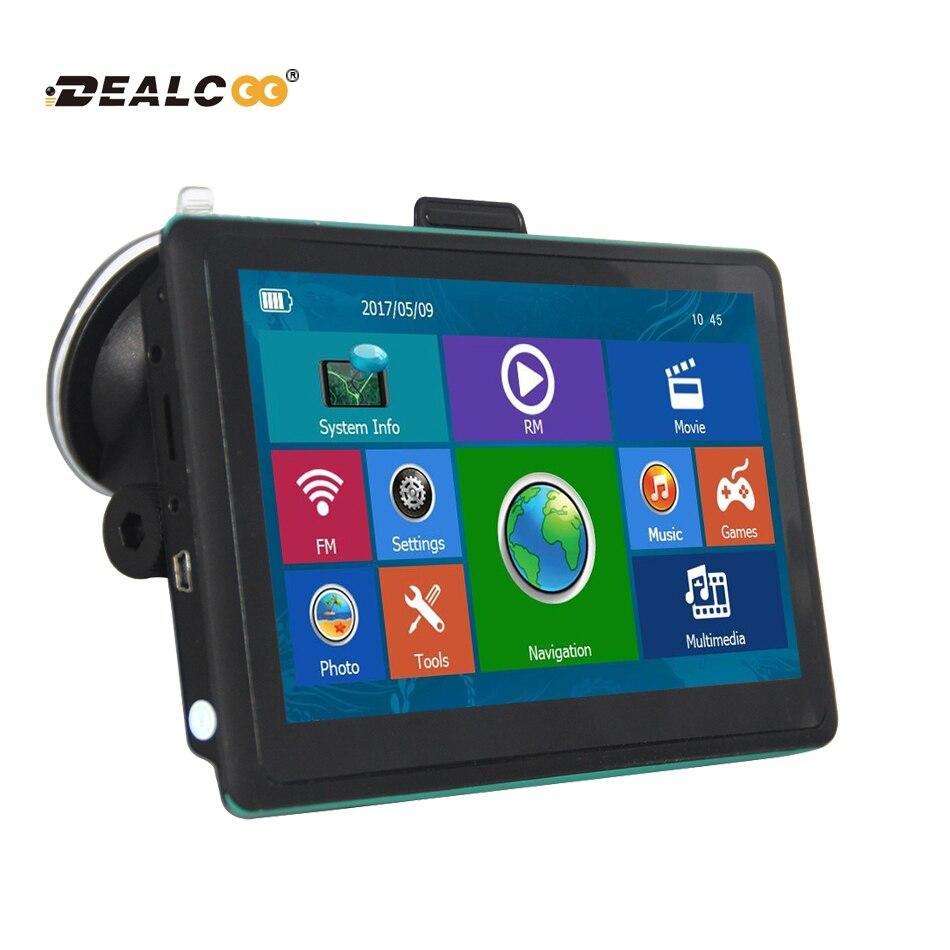 DealCoo 7 дюймов HD Автомобильный GPS навигации FM Bluetooth AVIN map бесплатное обновление Навител Европа Sat Nav грузовик gps навигаторы автомобильные