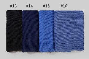 Image 5 - Модные плиссированные макси хиджабы из вискозы, мусульманский шарф, элегантная шаль, простые женские шарфы со складками, мусульманский головной платок, шали, мягкий глушитель, 1 шт.