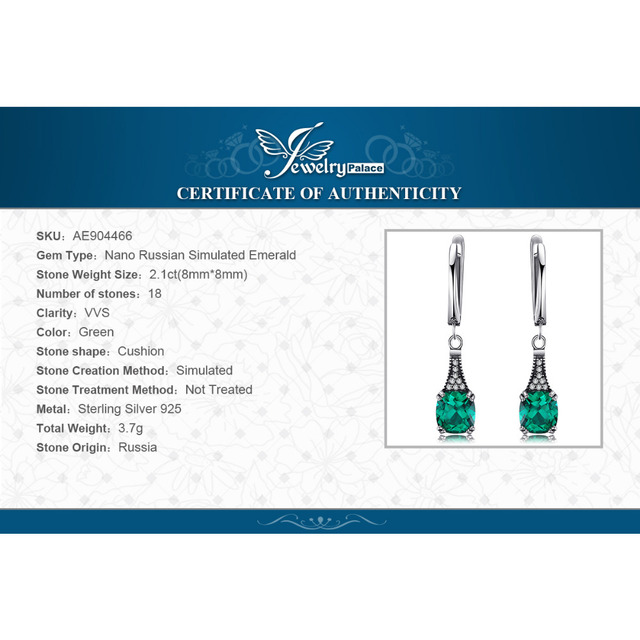 JewelryPalace Classic 2.9ct Cushion Nano Russian Simulated Emerald Dangle Earrings 925 Sterling Silver Drop Earrings New Arrival