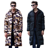 2018 HRM New winter men's long down jacket Long Slim thick knee winter clothes camouflage