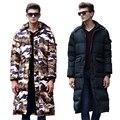 HRM Novo inverno casaco longo para baixo dos homens casaco para baixo Longo Fino grosso na altura do joelho roupas de inverno camuflagem
