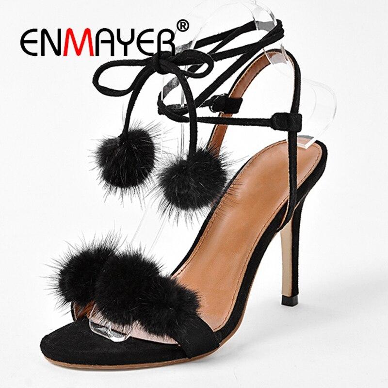 ENMAYER Open Teen Sandalen Slingback Lace-Up 2018 Mode Schoenen Dames - Damesschoenen
