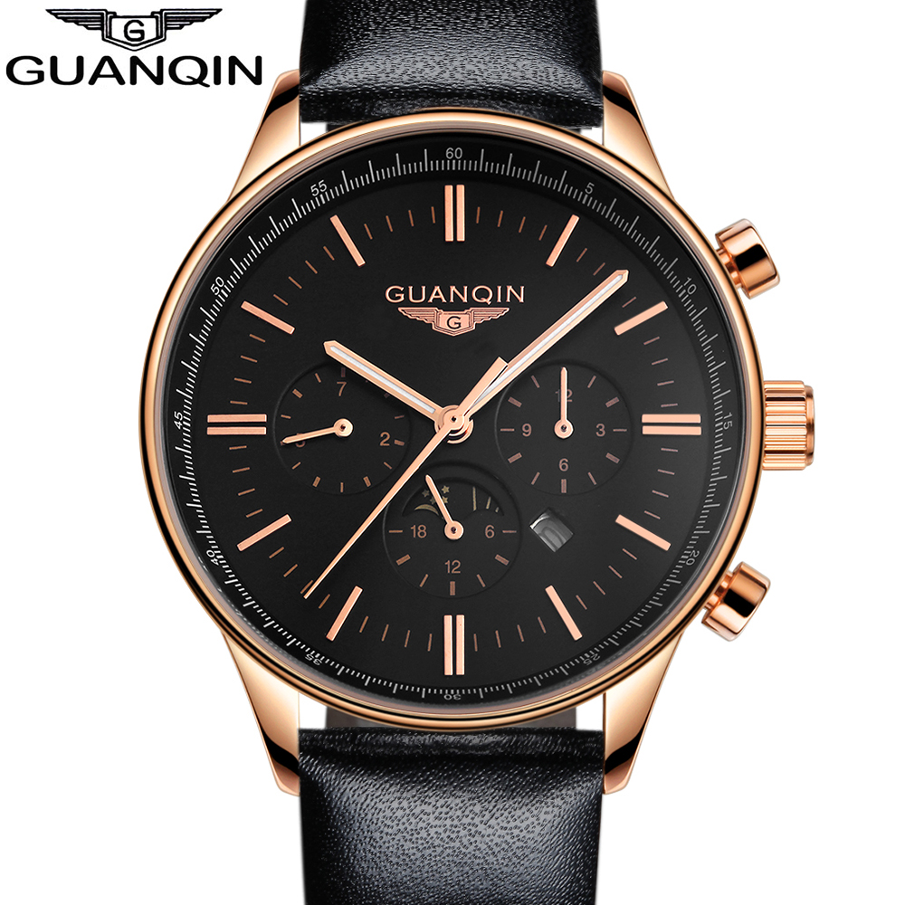 GUANQIN New Luminous Leather Multifunction Watches Belt Fashion Men Quartz Watch Waterproof Male Wristwatches цена и фото