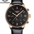 GUANQIN Nuevo Luminoso Multifunción Relojes de Moda Correa de Cuero Cuarzo de Los Hombres reloj Masculino Impermeable Reloj de Pulsera