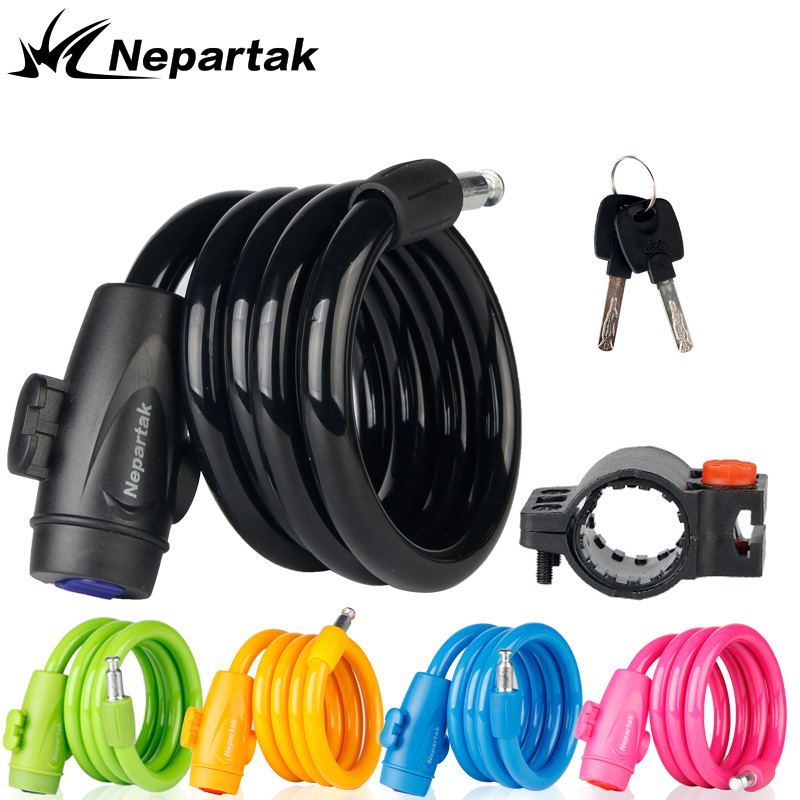 Nepartak Safety Cable Lock 1m Anti Theft Bike Lock Steel Security Bicycle Carbon Lock MTB Mountain Road Bike Bicycle Strong Lock цена