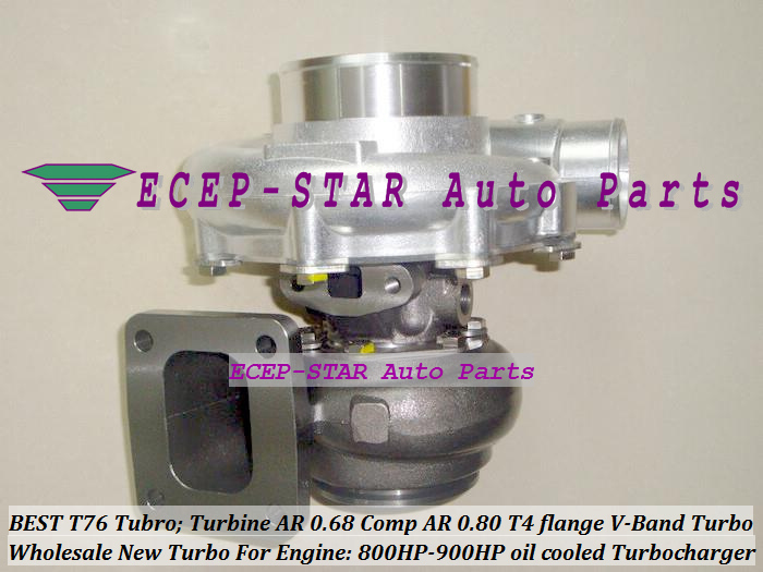 BEST T76 Modified Universal TURBO Charger Turbine A/R 0.68 Comp A/R 0.80 800HP 900HP T4 flange V Band Water cooled Turbocharger