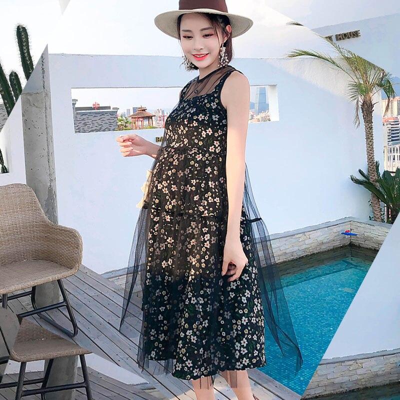 Sleeveless Gauze Maternity Dresses For Pregnant Women Clothes Floral Pregnancy Dress Vestidos Pregnant Dress Summer Clothing