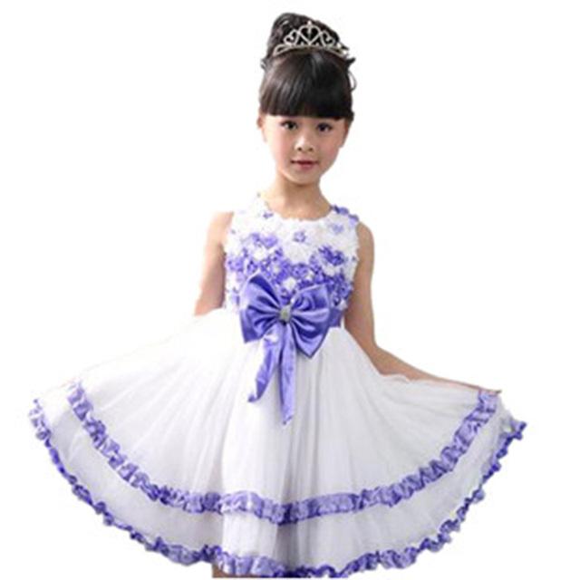Venta al por menor 2014 nuevas muchachas del verano vestido de la princesa del bebé ropa de los niños muchachas del vestido del tutú envío gratis tamaño 3 4 5 6 7 8 9 10 11 12