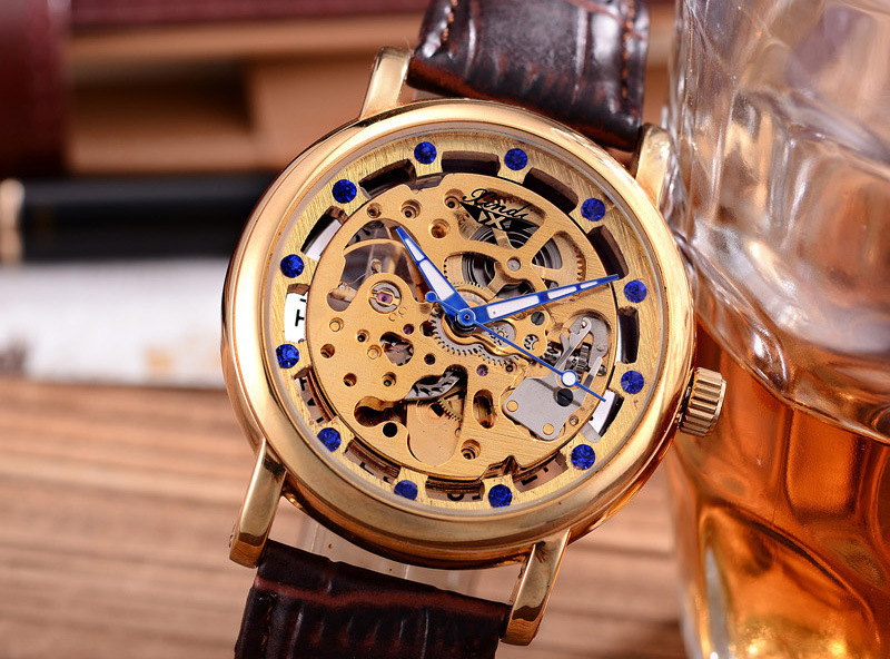 Luxury Blue Crystals Men Skeleton Mechanical Watches Self Winding Real Leather Analog Clock Fashion Vintage Dress Relojes NW4259 luxury men brand crystals dress watches self winding mechanical 316l band calendar wristwatch saphir relojes analog 3atm nw4239