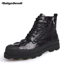 Super Recommand! Hight End Lace Up And Zip Men Work Fashion Boots Man Round Toe Cool Winter Genuin Leather