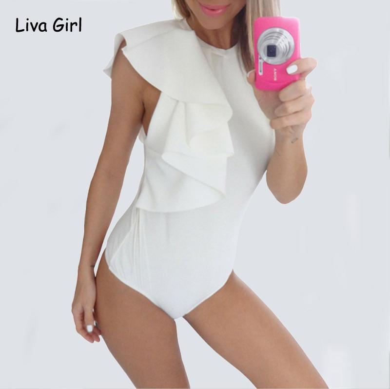 Moda Plissado Corpo Top Womens Sexy Magro Bodysuit Preto Branco de Volta Zipper Calções Sem Mangas Macacão Combinaison Femme