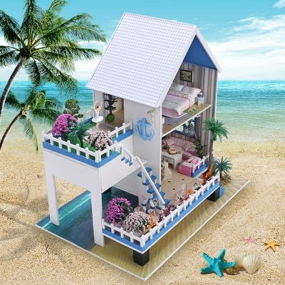 2015 New Arrive Diy Wooden Miniature Doll House 3D Puzzle Dollhouses Furniture Model Kit Toys House for Dolls Birthday Gift miniature house shape diy art 3d jigsaw puzzle