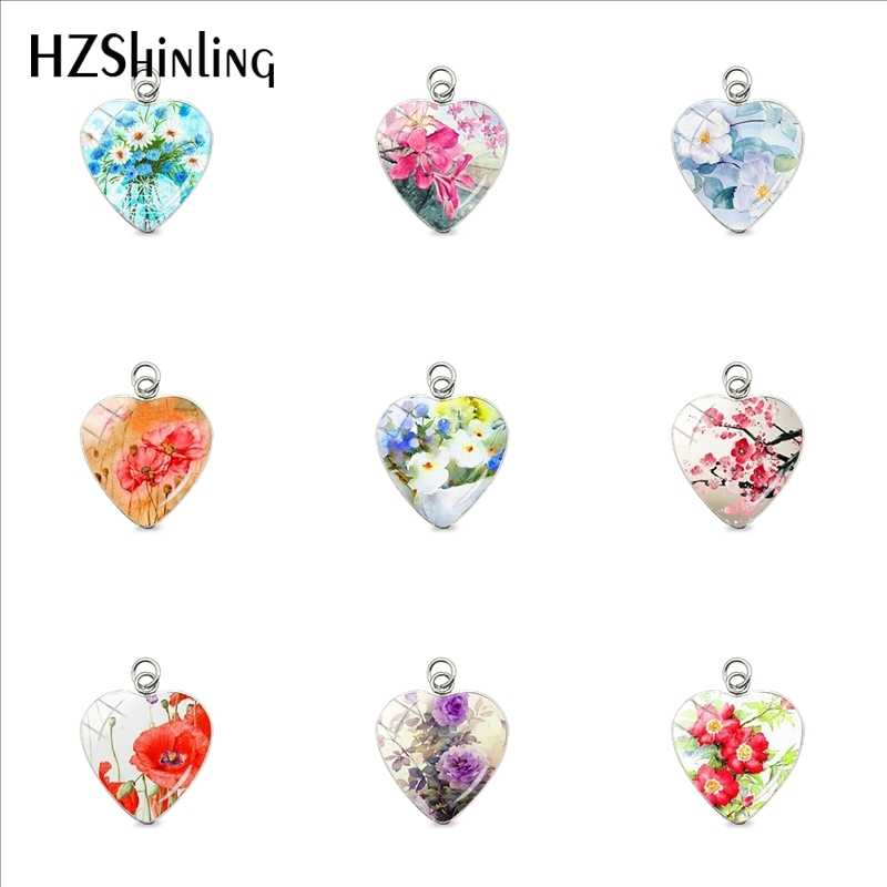 2019 Fashion Bohemian Style Vintage Flowers Pattern Heart Pendant Charms Beauty Poppies Rose Flowers Jewelry Gifts for Women