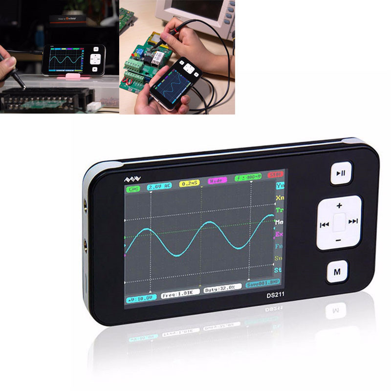 New MINI DS211 ARM Nano Pocket Professional Portable Digital Oscilloscope Digital DSO 211 DS 211 DS0211 DS0 211 with MCX Probe цены