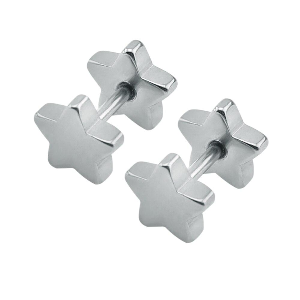 Star stud earrings stainless steel double sided earring silver black punk earrings men earrings women gold small child girls kid earrings