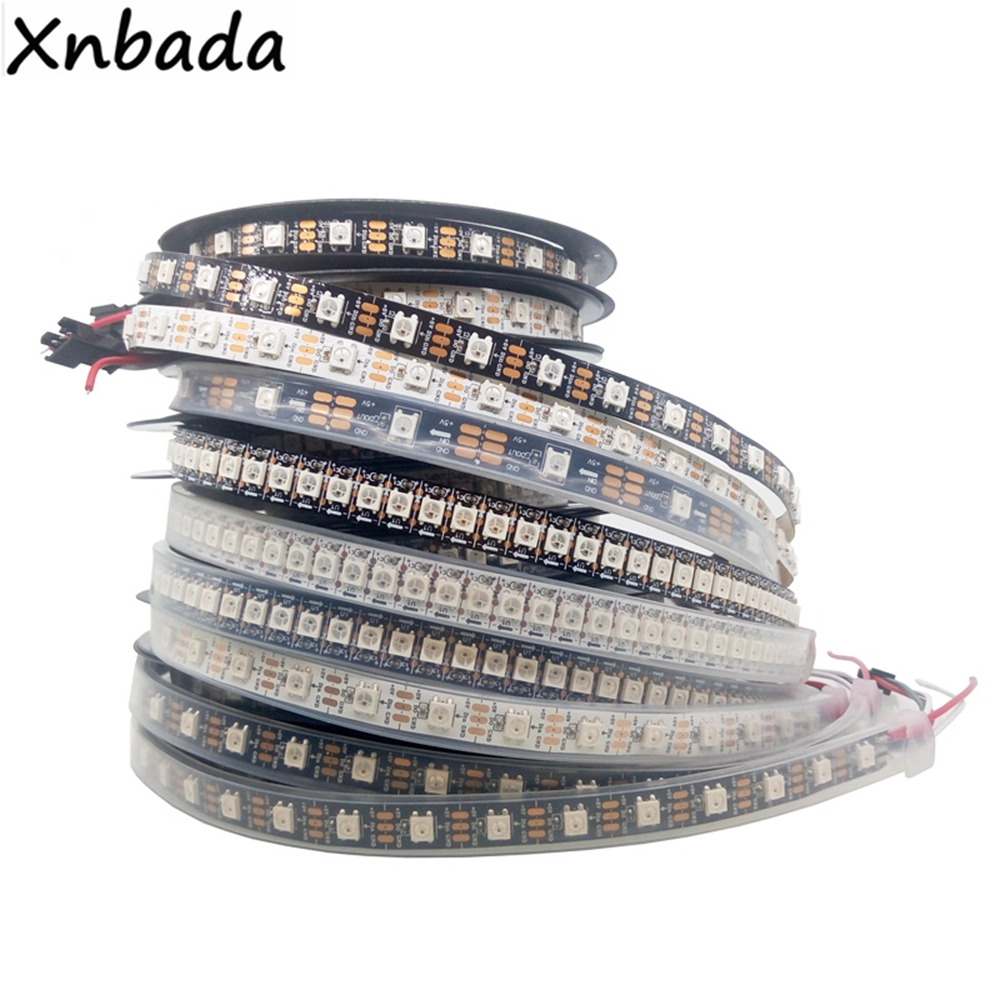 1m 2m 3m 4m 5m WS2812B 30/60/74/96/144Leds/m RGB Led Strip,WS2812 5050SMD Black/White Board Ip30/Ip65/Ip67 DC5V цена