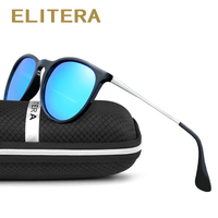 ELITERA Retro Round Polarized Sunglasses Women Brand Designer Luxury Sun Glasses For Men Metal Frame Female