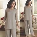 Demure Mother of theB ride Pant Suits 2016 3/4 Sleeve Beaded Chiffon Custom Made Plus Size Outfit for Mother of the Bride/Groom