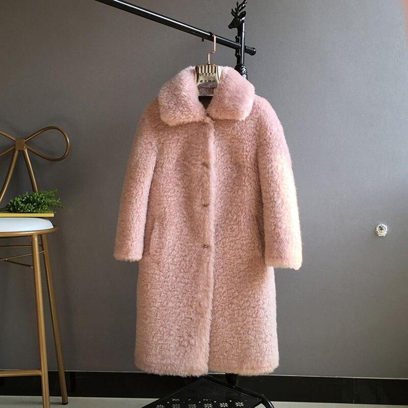 Section Femmes Moutons Fourrure Kaki Tonte Nouvelle Femelle Des blanc Manteau De 2017 D'hiver Cheveux rose Agneau Longue P64xw8qBqd