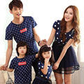 Fashion Look 2017 Summer Family Matching Outfits Dot Mother Daughter Dress And Father Son Baby Boy Girl T shirt