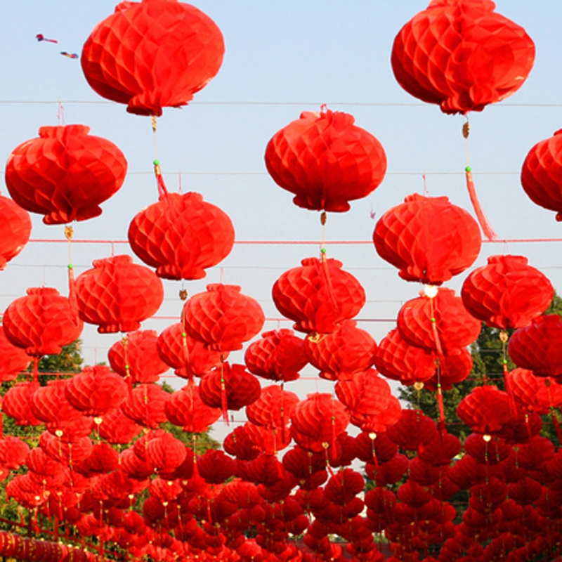 20 Pieces 6-16 Inch Chinese Style Red Honeycomb Waterproof Paper Lantern For Festival Supplies Party and Wedding Decoration