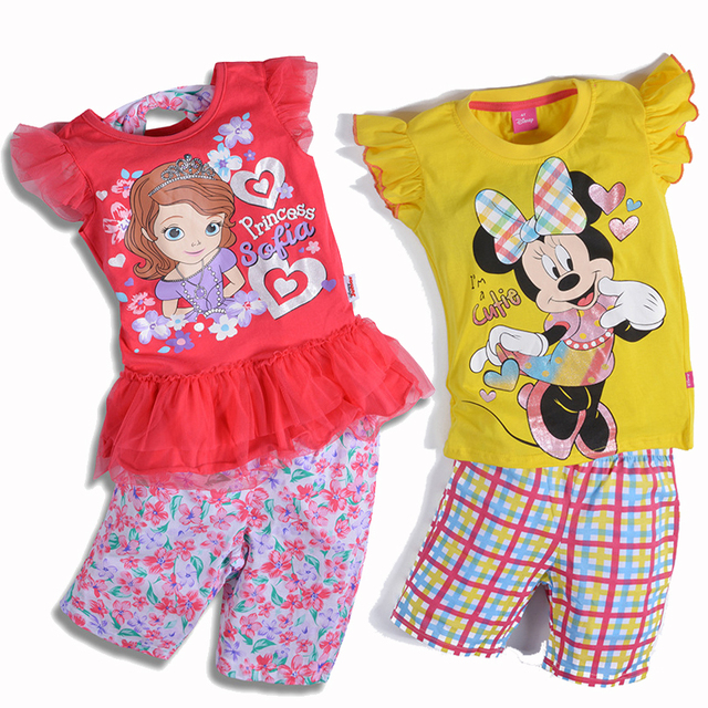 1-7 Years Kids Clothes Girls Clothing Sets Baby Toddler Girl Clothing Children Girls Clothes Boutique Cartoon 2017 New Summer