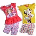 1-7 años de ropa para niños niñas sistemas de la ropa del niño del bebé de la muchacha ropa de niños ropa de las muchachas de dibujos animados con encanto 2017 nuevo verano